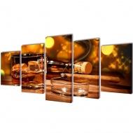 Zestaw obrazów Canvas 200 x 100 Whiskey i cygaro