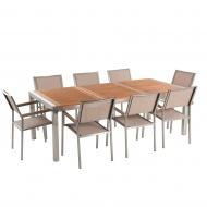 Zestaw ogrodowy mahoniowy blat 220 cm 8-osobowy beżowe krzesła Efraim BLmeble