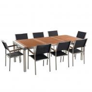 Zestaw ogrodowy mahoniowy blat 220 cm 8-osobowy czarne krzesła Efraim
