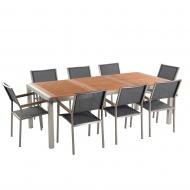 Zestaw ogrodowy mahoniowy blat 220 cm 8-osobowy szare krzesła Efraim BLmeble