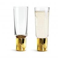 zestaw pozłacanych kieliszków do szampana, 2szt., 0,2 l, wys. 16,5 cm