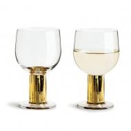 zestaw pozłacanych kieliszków do wina, 2szt., 0,22 l, wys. 13,5 cm