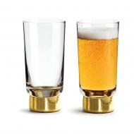 zestaw pozłacanych szklanek do piwa, 2szt., 0,33 l, wys. 14,5 cm