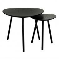 Zestaw stolików kawowych JOY czarny - MDF, nogi metalowe