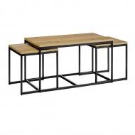 Zestaw stolików LOFT TRIO dąb - MDF fornirowany, metal