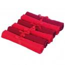 Zestaw sześciu serwetek Contento Jette czerwone + bordowe