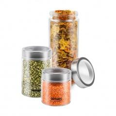Zestaw szklanych słoików na żywność 3szt Lamart Can przezroczysty