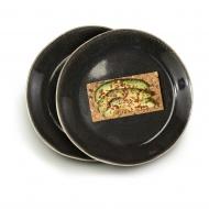 zestaw talerzy, 2 szt., szare, ceramika, śred. 22 cm