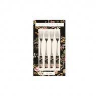 Zestaw widelczyków z porcelanowym uchwytem 4szt Nuova R2S Blooming Opulence czarny kwiaty