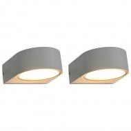 Zewnętrzne lampy ścienne, 2 szt., 11 W, białe, okrągłe