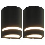 Zewnętrzne lampy ścienne, 2 szt., 35 W, czarne, półokrągłe