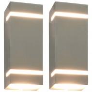 Zewnętrzne lampy ścienne, 2 szt., 35 W, srebrne, prostokątne